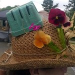 happy hat with pansies